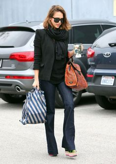 Black blazer, scarf and boot cut jeans