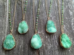 Green Druzy Necklaces with Chrysoprase Stone Accents - Joy Dravecky Jewelry