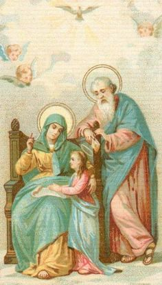 Anne, her husband St. Joachim, and their daughter the Virgin Mary Catholic Religion, Catholic Saints, Roman Catholic, Catholic Pictures, Jesus Pictures, Religious Images, Religious Art, Saint Joachim, Jesus E Maria