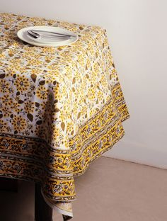 INDIAN AUGUST  Floral Block Printed Cotton Table Cover - 120in x 60in - Buy Home Textiles > Table Linen > Floral Block Printed Cotton Table Cover - 120in x 60in Online at Jaypore.com