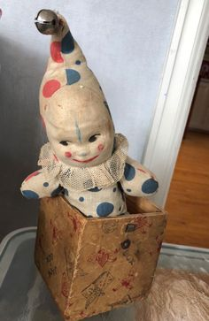 Antique Vintage Clown Jack in the Box Toy. A Spear Product.  #Spear
