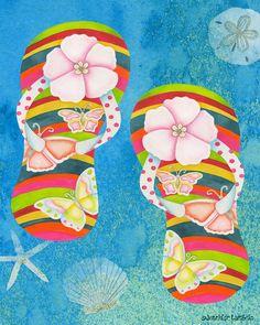 c770b272d07e2e 8x10 Art Print. Floral Flip Flops. Artwork by Jennifer Lambein Floral Flip  Flops