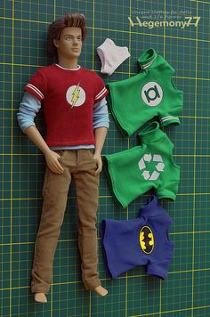 1/ 6 scale Sheldon Cooper - The Big Bang Theory inspired custom clothes - T shirts pants and briefs with Ken doll   Flickr - Photo Sharing!