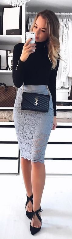 #winter #outfits black turtleneck long-sleeved shirt and gray lace bodycon midi skirt outfit