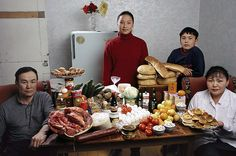 "Peter Menzel ""Hungry Planet: What the World Eats"" is an interesting book on consumer habits round the world. Artist, activist and journalist Peter Menzel documented the weekly food purchases of 30 families from 24 countries. Mongolia, Peter Menzel, Countries Around The World, Around The Worlds, Banquet, Festival Photo, What The World, People Eating, Nutrition Tips"
