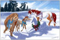 First Christmas by daughterofthestars Horse Drawings, Cute Animal Drawings, First Christmas, Christmas Art, Spirit Drawing, Spirit And Rain, Deviantart Fantasy, Horse Animation, Horse Cartoon