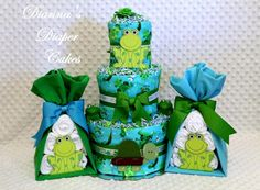 Baby Diaper Cake Frogs and Turtles with Stork Bundles for a boy Shower Gift or Centerpieces by Diannasdiapercakes