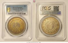 RITTER China, Sinkiang Dollar 1949, L&M 842, PCGS Damage-AU Detail #coins