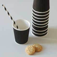 black and white paper cups