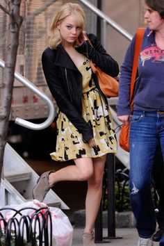 Emma Stone. Dress: Joie Cubist Silk Allegra//  Shoes: Joie Elvis Suede Booties//  Bag: Chloe Marcie Medium Calfskin Shoulder Bag