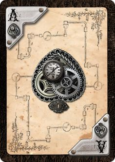 New Card Art for Andrea's Steampunk Playing Cards Unique Playing Cards, Playing Cards Art, Custom Playing Cards, Vintage Playing Cards, Joker Playing Card, Steampunk Drawing, Steampunk Cards, Game Card Design, Ace Card