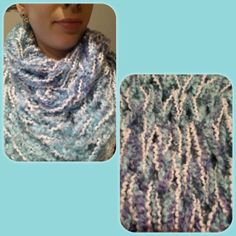 Items similar to Infinity Scarf - double wrap circle scarf chunky textured loose knit baby blue & white. on Etsy Circle Scarf, Knits, Infinity, Trending Outfits, Knitting, Crochet, Etsy, Vintage, Fashion