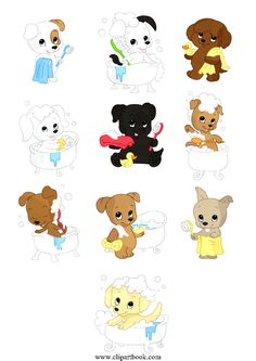 LE - Bubble Puppies in bathfree vector clipart designs for digitizers textile and fashion designers