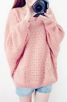 pastel pink hollow-out bat sweater, loose mink hair sweater for ...