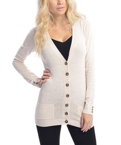 Take a look at this Light Raw Button & Pocket V-Neck Cardigan on zulily today!