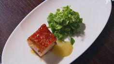 Roast Pork Belly with Apple Puree and Cider Vinegar Vinaigrette