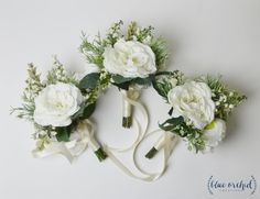 This silk wedding bouquet is filled with artificial greenery and silk flowers. This faux bouquet emphasizes the silk garden roses, and has been arranged in a shape that makes it look Small Bridesmaid Bouquets, Silk Wedding Bouquets, White Wedding Flowers, Wedding Flower Arrangements, Flower Centerpieces, Flower Bouquet Wedding, Wedding Greenery, Flower Bouquets, Wedding Bridesmaids