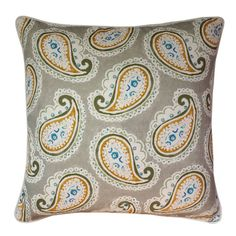 Montracy Greige Cushion - 55cm  This cushion boasts a beautiful paisley print with intricate block print details which has been digitally printed onto a viscose linen and paired with No Chintz Oatmeal coloured piping and back.  #cushion #cushioncovers #designerfabrics #williamyeoward #homedecor #softfurnishings #nochintz