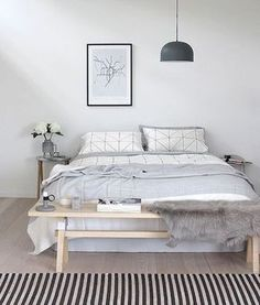 Simple Monochrome Scandinavian Bedroom - Minimalist Interior Design.