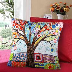 Decorative canvas throw pillow cases cushion covers optional sizes / Abstract coloured tree/original design by Karla Gerard via Etsy