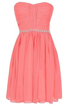 Metallic Shimmer Embellished Strapless Dress in Bright Pink