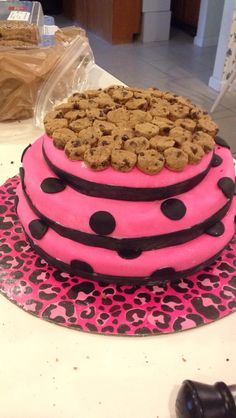 Vanilla cake with chocolate chips inside. With pink and black fondant icing.