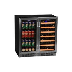 EdgeStar CWBV8030 30 Inch Wide 30 Bottle 80 Can Side-by-Side Wine and Beverage C Stainless Steel Refrigerators Wine Cooler Wine Cooler #winecooler