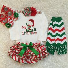 First Christmas outfit/Red White Green/Chevron by BabyTrendzz