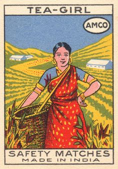 Tea-Girl safety matches matchbook cover ... depicts woman in sari picking tea at Indian tea garden, c. mid 20th century, Made in India