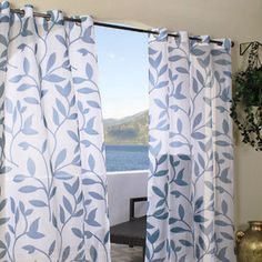 Commonwealth Home Fashions Escape Leaf Grommet Window Curtain Single Panel