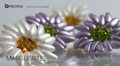 Marguerites with Chilli Beads.  Free PDF ~ Seed Bead Tutorials