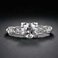 .90 Carat Platinum and Diamond Art Deco Engagement Ring - 10-1-5218 - Lang Antiques