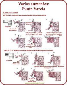Aumentos en crochet - Increasing crochet - ✿⊱╮Teresa Restegui http://www.pinterest.com/teretegui/✿⊱╮