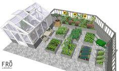 Platsen framför växthuset utökades för att skapa en liten sittplats mot den soliga väggen. Det är också en bra plats för att odla värmekrävande växter, som t.ex. tomater och gurkor. All About Plants, Backyard, Patio, Shipping Container Homes, Raised Beds, Dream Garden, Garden Planning, Garden Inspiration, Garden Landscaping