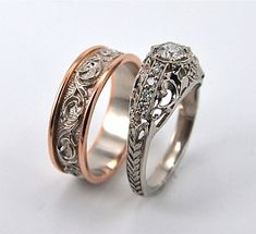 Twining Vines Wedding Set  Custom wedding set features matching scrollwork. His band is two-tone: rose gold and white gold. Her ring has a delicate rolling leaf pattern along the sides.     These rings are part of our Vintage Collection.    Designed by Richard Gretz and created in our shop in Corvallis.