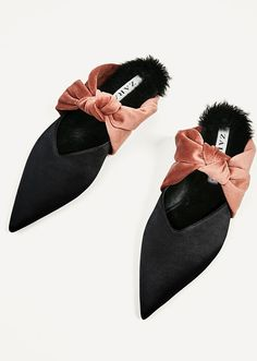 Zara | Spring 2017 | Velvet Bow Slickback Mules in black and peach, featuring wide soft contrasting velvet straps knotted over the arches, faux-fur trim around the inner sole at the heels, sharply pointed toes, V-cut vamps, backless slip-on styling and low wrapped heels | from Zara.com (no longer available as of June 2018) | Photo: Zara.com via Stylecaster.com | March 2017