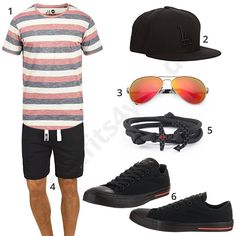Sommer-Outfit mit gestreiftem Shirt und Pilotenbrille (m0402) #outfit #style #fashion #menswear #mensfashion #inspiration #shirts #cloth #clothing #männermode #herrenmode #shirt #mode #styling #sneaker