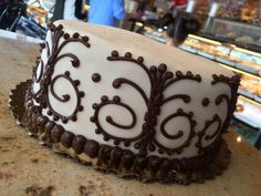 Our Chocolate Cake with Butter Cream Frosting and Chocolate Butter Cream Design #ChocolateCake #ButterCream