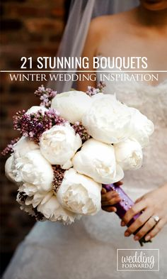21 Stunning Winter Wedding Bouquets ❤ Cozy sweaters and half-length coats look chic with any wedding gown and create opportunity for stunning winter wedding bouquets. http://www.weddingforward.com/winter-wedding-bouquets/ #wedding #bouquets