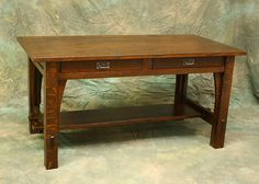 I have listed reproduction of a Charles Limbert Desk/Library Table. Made of solid quarter sawn white oak and all joinery is thru mortise and