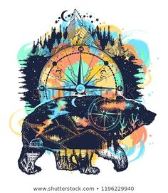 24c98f2d36fd8 Bear and mountains tattoo watercolor splashes style. Travel symbol,  adventure tourism. Mountain, forest, night sky. Magic tribal bear double  exposure ...