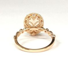 Oval Morganite Engagement Ring Pave Diamond Wedding 14K Rose Gold 8x10mm