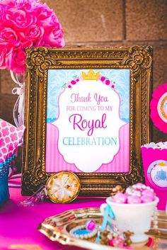 Royal sign at a princess birthday party! See more party planning ideas at CatchMyParty.com!