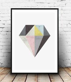 Abstract wall art, Diamond print, Watercolor texture, Geometric print, Scandinavian design, Minimalist art, Home decor, Abstract design
