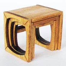 Kit to make a scale style nest of tables. Includes all precut pieces. Made by Jane Harrop. You will also need tacky glue, wood stain or acrylic pa Thing 1, Nest, Scale, Miniatures, 70s Style, Wood Stain, Dolls, Tables, Retro