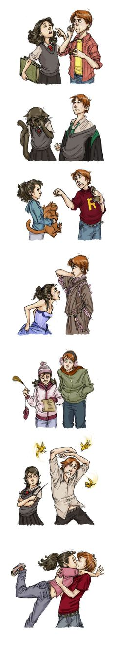 Ron and Hermione through the years. uhh there is one thing wrong with this. Hermione doesn't have black hair. Harry Potter Fan Art, Harry Potter Universe, Memes Do Harry Potter, Mundo Harry Potter, Harry Potter Fandom, Harry Potter World, Hrry Potter, Potter Facts, Hogwarts