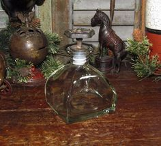 Primitive French Country Chic Glass Jar Shabby Metal Water Spigot Faucet Valve
