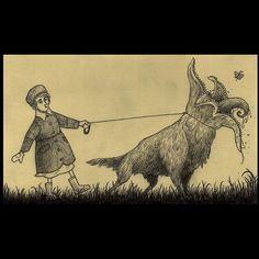 Monday morning walking the... Dog? #johnkennmortensen #artwork #drawing #monster #stickymonster #butterfly #doom