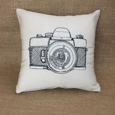 Camera embroidered pillow
