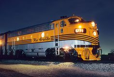 Rio Grande 5771 lights up the night shortly after being restored in original Grande gold and silver at the Colorado Railroad Museum on the night of March (Mike Danneman). Gi Joe, Old Trains, Vintage Trains, Railroad History, Union Pacific Railroad, Bonde, Railroad Photography, Train Art, Train Pictures